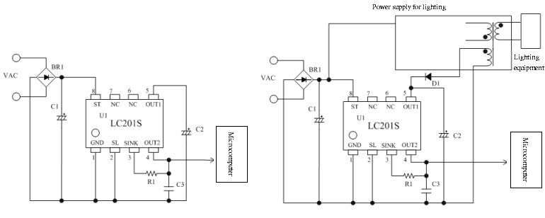 内置启动电路(减少外接元件) 启动电路零功耗(通过辅助绕组供电时) OUT1 输出:  通过内部启动电路供电时,利用 SL 引脚电压,  可将输出切换为 9 V或 20 V OUT2:5V 输出(适用于微控制器电源) UVLO (Under Voltage Lockout)功能  (低输入电压时,将 OUT2 引脚固定为 Low)