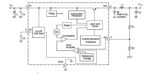 概要 SI-8008HFE 系列采用 150kHz 的振荡频率,可减小电感尺寸;另外通过采用 TO-220FP-5L封装, 实现高效率大功率的电源。 SI-8008HFE 具有开关稳压器的必需功能和过电流与过热保护功能。 只需 外置7 个分立元件,无需调整即可实现高效率的开关稳压器。 采用 TO-220F-5L 封装,提供 5.