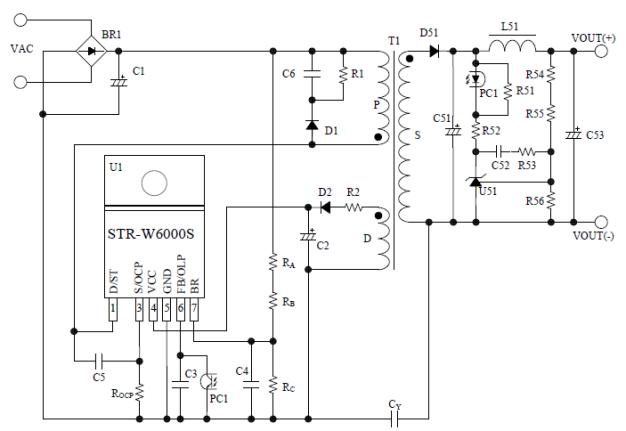 STR-W6000S 系列是将功率 MOSFET 和电流模式 PWM 控制IC内置于同一封装中的 PWM 型开关电源控制芯片。 为实现电源待机低功耗,控制部内置启动电路,同时通常动作时PWM 模式,轻负载时自动切换至 Burst 振荡动作,从而达到外置元件少, 低待机功耗,性价比高的电源系统。