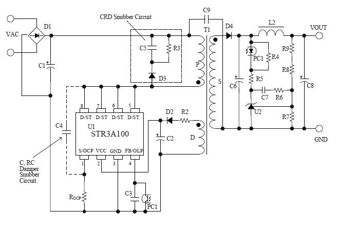 ac/dc转换器集成电路 mos内置 str3a161hd  备注 str3a100 series
