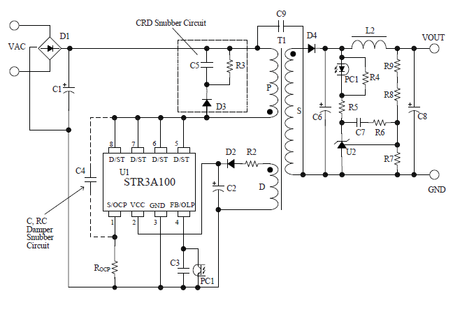 STR3A100 系列是将功率 MOSFET 和电流模式 PWM 控制器IC置于同一封装中的 PWM 型开关电源控制芯片。 为了实现低功耗及低待机功耗,内置启动电路和待机功能,正常工作时 PWM 动作,在轻负载时自动切换至 Burst 振荡动作。 具有丰富的保护功能,实现外置元件少、性价比高的电源系统。